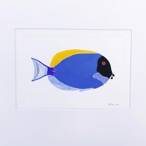 Blue Tang Fish Original Watercolor Painting Signed